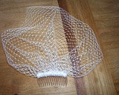 Ivory Birdcage Veil, Blusher, Short Wedding Veil, Vintage Inspired. Retro, 9 inch Netting, Top Comb, Also in White and Many Custom Colors
