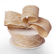 """Ivory Floral Lace Burlap Ribbon - 1-1/2"""" X 10 Yards - by Paper Mart"""