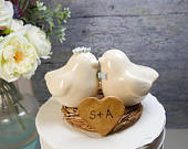 Ivory Love Birds with Matching Flower Crown and Bow Tie, Colors Customized to Suit Wedding Theme, Handmade Pottery Birds with Engraved Nest