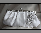 Ivory satin Clutch with Crystal brooch Wedding handbag Bridal purse Reception Party