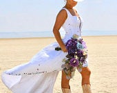 JENSENWestern Couture Hand Painted Mica HIgh Low Wedding DressCRBoggs Original ONe OF A KInd