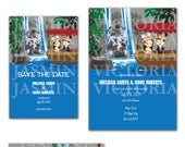 Jungle Cruise Customize Cartoon Bride and Groom Castle Wedding Save The Date, Invitation, RSVP or Thank you Digital File