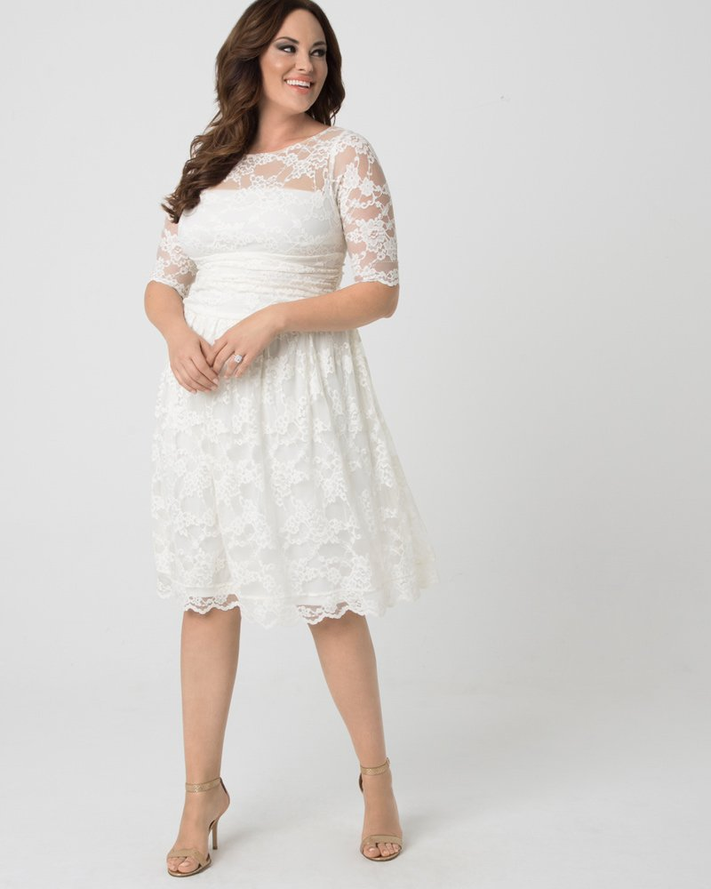 Kiyonna Womens Plus Size Aurora Lace Wedding Dress - Sample Sale
