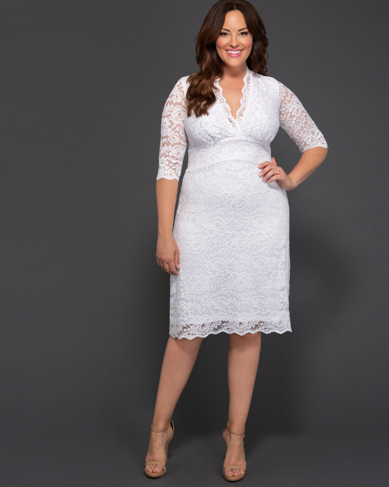 Kiyonna Womens Plus Size Luxe Lace Wedding Dress - Sample Sale