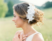 Lace Beaded Bridal Headpiece. Bridal Lace Comb. Bridal Headpiece.