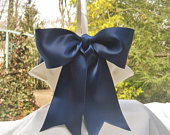 Large Flower Girl Basket and Pillow Navy Ribbon Extra Large Hurricane Basket Ivory or White Basket with choice of ribbon colors