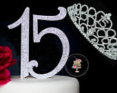 Large Quinceanera Diamante 15 OR Sweet 16 Birthday cake topper in crystal rhinestones and Quinceanera jewel tiara