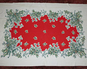 Large Retro Christmas Tablecloth / Vintage 1950s Mid Century Swags of Holly Pine95X56