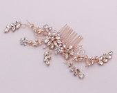 Large Rose Gold Crystal Comb, wedding hair comb, crystal rhinestone hair comb wedding headpieces, Kaylie Large Rose Gold Crystal Comb