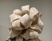 Large natural burlap ribbon with white felt snowflakes Christmas Tree topper bow