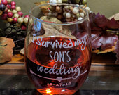 Laser Engraved Stemless Wine Glass I Survived My Sons Wedding Wine Glass Customized Wedding Wine Glass