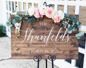 Last Name Wedding Welcome Sign Rustic Wood Wedding Sign Chantilly Collection