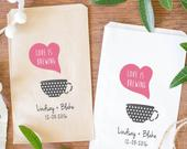Love is Brewing, Coffee Favor Bags for Wedding, Coffee Treat Bags, Kraft Brown Bags, Custom Coffee Bags BWE99BWE34