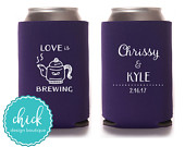 Love is Brewing, Tea Pot, Coffee Pot Custom Can Cooler Personalized Wedding Favor Party Gift Shower Favor Engagement Favor 4D231