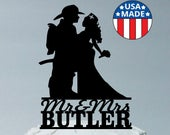MADE In USA, Personalized Fireman and Nurse Wedding Cake Topper, Nurse Hair Down, Fireman Nurse Wedding Cake Topper, Firefighter Topper