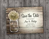 MASON JAR Babys Breath Flowers Rustic Save the Date Printed Wedding Save The Date, Affordable, Cheap, Wood, Summer, Outside