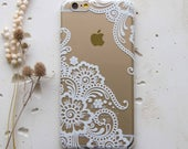 Mandala Pixel 3a iPhone XS Max XR 7 Case iPhone X Phone Clear Case White Flower iPhone 6 iPhone 6s Plus Samsung S8 Galaxy S5 Note 8 WC1075
