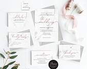 Marble Rose Gold Wedding Invitation Template, Wedding Invitation Printable, Invitation Set,Cheap Invitation,DIY PDF Instant Download E039