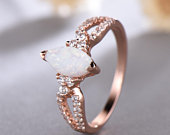 Marquise Shaped Opal CZ Diamond Engagement Ring Sterling Silver 14k Rose Gold Art Deco Wedding Ring Cluster Vintage Women Anniversary Gift