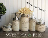 Mason Jar Bathroom Set, Painted Mason Jars, Mason Jar Decor, Bathroom Decor, Bathroom Storage, Rustic Decor, Housewarming Gift, 5 Piece