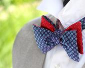 Mens BowTie Navy Blue Red Silk bow tie Wedding Tie, Mens Bow tie Gift for him Boom Bow