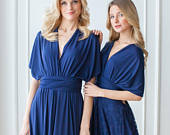Midnight Blue Infinity Bridesmaid Dress, Navy Blue Convertible dresses, Party Twist Wrap Dress, Navy Evening Dress, Navy Blue Prom Dress
