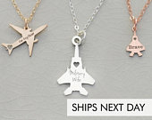 Military Gift Airplane Necklace Sterling Silver Airplane Charm Plane Air Force Gift Deployment Gift Armed Forces Airplane Pendant