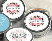 Mint to Be Wedding Favors Personalized Wedding Mint Tins Personalized Wedding Favors Floral Pink Thank You Bridal Shower