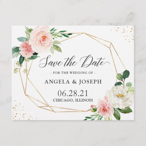 Modern Geometric Blush Pink Floral Save the Date Invitation Postcard