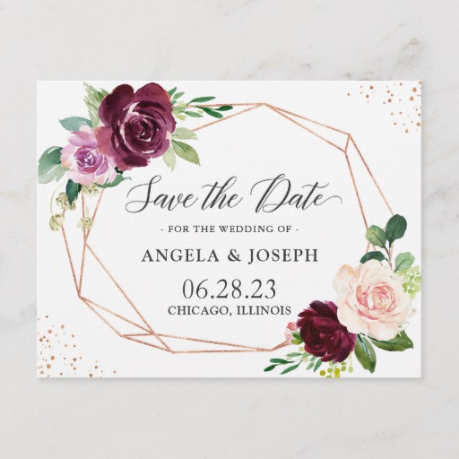 Modern Geometric Purple Blush Floral Save the Date Invitation Postcard