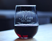 Mom Est 2019 Cute Stemless Wine Glass for New Mothers, Large 17 Ounce Size, Etched Sayings, Gift for Mothers Day