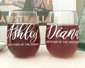 Mom Wedding Gift Mother of Bride Mother of Groom Wine Glass Set of (2) MOB Gift Idea Personalized Mom Wine Glass Gift from Daughter