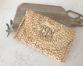 Monogram Clutch Straw clutch Wicker Clutch Rattan Bag Bridesmaid gift Woven clutch Rattan Envelope clutch Teacher Gift Vacation bag