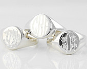 Monogram Signet ring Personalized custom engraved Solid Sterling Silver signature statement ring in US sizes 4 5 6 7 8 9 10 11 UNISEX