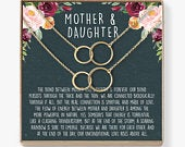 Mother Daughter Gift Necklace, Mothers Day Gift, Gifts for Mom, Mom Necklace, 2 Asymmetrical Circles