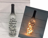 Mother Daughter Gift The Love Between A Mother and Daughter is forever Lighted wine bottle