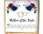 Mother of the Bride gift wedding gift Mother in Law Gift Mother in law wedding gift Mother of the Groom gift gold 2 circle bracelet/necklace