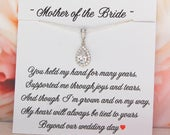 Mother of the Bride necklace from daughter, Mother of the Groom gift, CZ Jewelry, Mothers Wedding Jewelry, Silver Teardrop Pendant