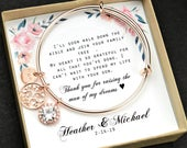 Mother of the groom set Mother of the bride gift Mothers gift Custom mother bracelet Mother earrings Mother in law gift