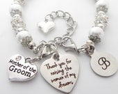 Mothers Gift, Engraved Mother of the Groom Bracelet, Mother in Law Gift Mother in Law JewelryMother of Groom GiftFrom Daughter in Law