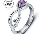 Mothers Mom Infinity Ring Engraved choice of birthstone