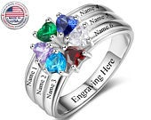 Mothers Ring 6 Stone 6 Name Engraved Sterling Silver Family Ring 6 Stone Mothers Ring 6 Birthstone Mom Birthstone Ring Six Stone Gift