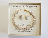 Mothers gift, Custom Engraved Mother of the groom set, Mother of the bride gift, Oval CZ mother bracelet, Mother earrings,Mother in law gift