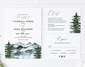 Mountain Wedding Invitation Suite Editable Template Invitation, RSVP and Details Rustic Wedding Instant Download