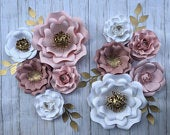 Nursery paper flowers wall decor around name. 10 pc Blush, dusty rose pink, white, gold