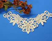 OffWhite Sequin Pearl Beaded Floral Lace Applique for sashes, headband applique, bridal veil, wedding dress, diy projects. (LC10093)