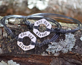One Day Closer, Set of 2, Long Distance Relationship, Hexagon Washer Bracelet, Deployment Gift, Anniversary gifts for men, Boyfriend Gift
