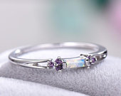 Opal Wedding Band Amethyst Engagement Ring White Gold 14k Sterling Silver Bridal Ring Baguette Cluster Anniversary Gift Art Deco