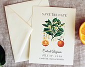 Orange Blossom Wedding Save the Date Citrus Wedding Invitation Set Summer Wedding Save the Date Handmade Spring Save the Date Download