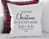 Our First Christmas In Our New Home Personalized Pillow First Christmas Gift New Home Gift Gift Under 20 Gift For Couple
